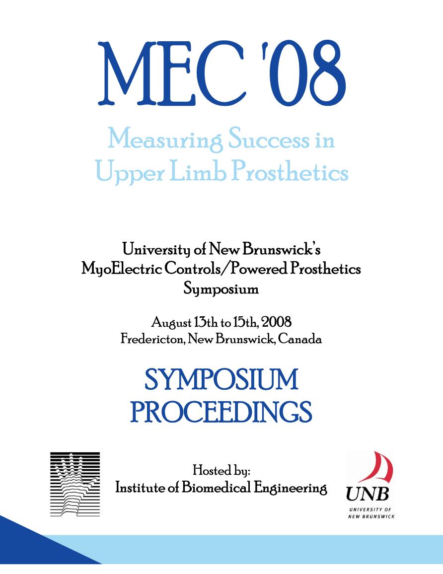 View 2008: MEC 08: Measuring Success in Upper Limb Prosthetics