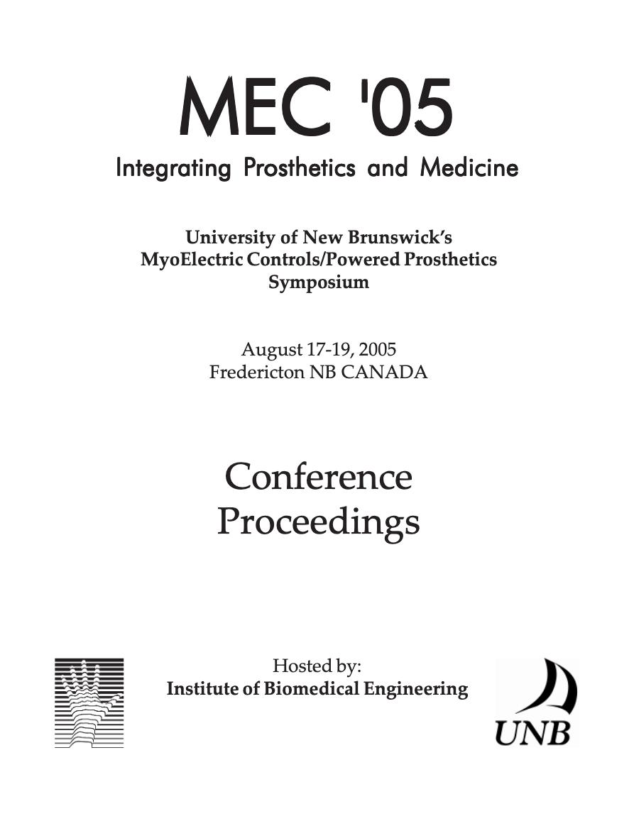 View 2005: MEC 05: ntegrating Prosthetics and Medicine
